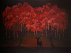 Deer and Trees Surreal Art Print 16x20 large fine by ArtByKatieK, $42.75