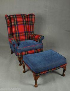Wool-Tartan-Wingback-Armchair-sofa-chair-patchwork-Furniture