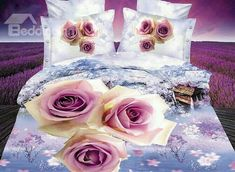 Buy Bedding Sets King Size Duvet Cover Bed Sheet Pillowcase Bedclothes 2015 New Color Home Textiles at Wish - Shopping Made Fun Purple Bedding, Floral Bedding, Linen Bedding, Bed Linens, Comforter, 100 Cotton Duvet Covers, King Size Duvet Covers, Mode 3d, King Size Sheets