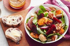 Combine maple syrup, wholegrain mustard and vinegar for the ultimate dressing to this roast vegetable salad. Root Vegetables, Roasted Vegetables, Roasted Vegetable Salad, Appetisers, Winter Food, Tasty Dishes, Vegetarian Recipes, Vegan Meals, Salad Recipes