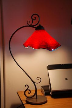 Table Lamp Hand Blown Glass Hand Forged Iron Ruby shade by Artist Rick Stri Decor, Hand Blown Glass, Wrought Iron Furniture, Iron Lighting, Wrought Iron Decor, Red Lamp Shade, Iron Decor, Red Lamp, Iron Candle Holders