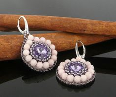 Bead Embroidery Swarovski Rivoli Pink and Purple Elegant Bead Earrings