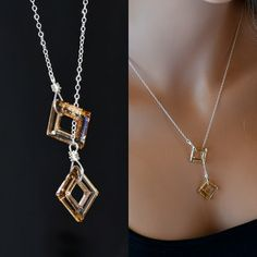 Lariat Swarovski Crystal Necklace, Sterling Silver Square Crystal Necklace, Topaz Brown Swarovski Crystal Necklace, Gold Crystal Necklace