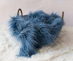 Smoky Blue Mongolian Faux Fur Prop Newborn by SweetBabyJamesShop