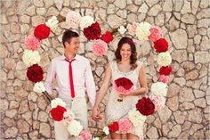 valentine's photo booth idea - flower heart frame backdrop