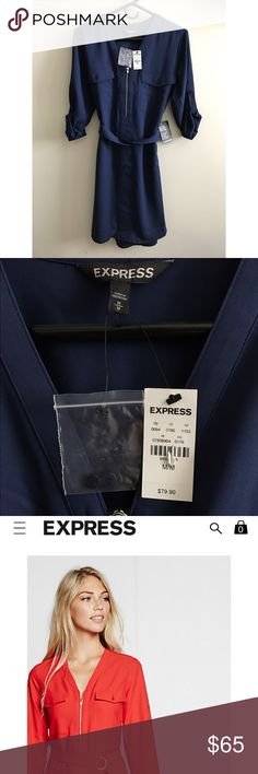 NWT Express Long Sleeve Zip Front Dress Brand new, with tags, navy blue dress. Express Dresses Long Sleeve