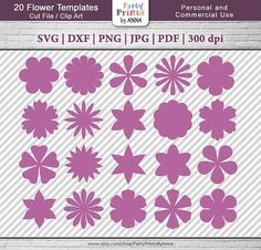 ITEM ID: 20-Paper-Flower-templates ~~~~~~~~~~~~~~~~~~~~~~~~~~~~~~~~~~~~~~~~~~~~~~~ THIS IS DIGITAL DOWNLOAD ~~~~~~~~~~~~~~~~~~~~~~~~~~~~~~~~~~~~~~~~~~~~~~~ WHAT YOU GET - Instant Download - download your purchase directly from Etsy. (all files compressed in a ZIP folder). NO