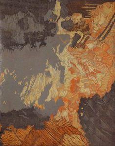 Howard Paine. Auralia. reduction woodcut