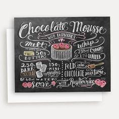 Illustrated Recipe Note Card Chocolate Mousse with von LilyandVal - Kochbuch Rezepte - Chalk Art Chocolate Mousse Recipe, Chocolate Mix, Chocolate Lovers, Lily And Val, Chalkboard Lettering, Chalkboard Walls, Chalkboard Ideas, Valentine Chocolate, Recipe Notes