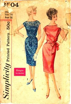 "Simplicity 3504…Misses' One-Piece Dress Pattern in Bust 38"". Pattern is cut and all the pieces & instructions are there. Envelope in fair condition. No copyright date but following the guide this pattern is 1960.  'Simple to Make'. Dress has blouse bodice, bateau neckline and very short kimono sleeves.  Slim skirt has back slit opening.  V. 1 has top-stitching and self fabric tie belt.  V. 2 has bias binding and ribbon belt and may be made of lace or other fabrics."