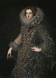 1620 Isabel de Bourbón, primera esposa de Felipe IV by ? (Prado) Dress with large slashed sleeves