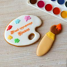 Купить Пряник палитра с кистью - палитра, краски, кисть, художник, пряник, козули, расписные пряники