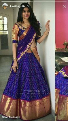 saree blouse sarwal at DuckDuckGo Half Saree Designs, Blouse Designs Silk, Lehenga Designs, Dress Designs, Mehndi Designs, Half Saree Lehenga, Lehnga Dress, Sari, Lehanga Saree