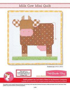 Milk Cow Downloadable PDF Mini Quilt Pattern Bee in my Bonnet | Fat Quarter Shop