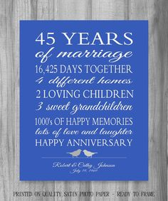Personalized wedding anniversary gift. The perfect 45th Anniversary gift, or ANY year. Our Life Story - stats of the couples life together. This is a unique gift idea they will truly cherish. Perfect for a 5, 10, 20, 25, 30, 45... and up anniversary. You can customize this anyway you want, with YOUR stats. Shown with 2 love birds in varying shades of gray with a sapphire blue (45 year anniversary color) background OR choose your colors. I look forward to helping you make this the perfect ...