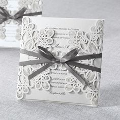 Classic style grey wedding invitation with laser cut wrap @bwedding #wedding #weddinginvitations
