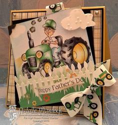 """High Hopes Stamps: """"happy Father's Day"""" by HHDT Natalie using new release """"Bob Loves his Tractor"""" & Sentiment Set June 3rd, High Hopes, Pretty Cards, Card Maker, Masculine Cards, Happy Fathers Day, Farm Animals, Tractor, Love Him"""