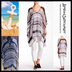 "❗️1-HOUR SALE❗️Poncho Coverup Long Tunic 💟 NEW WITH TAGS 💟 ***Tagged one size fits most Poncho Coverup Long Cape Tunic  Retail Price:$58 ***Tagged one size fits most  * Chiffon fabric w/ beautiful striped print  * A longer length & lightweight for layering; An oversized loose knit fit   * Wide 3/4 long poncho sleeves  * About 33-38"" long  * Pullover style Fabric: 100% Polyester Color: Black Grey Combo Item:91700  🚫No Trades🚫 ✅ Offers Considered*✅  *Please use the blue 'offer' button to…"
