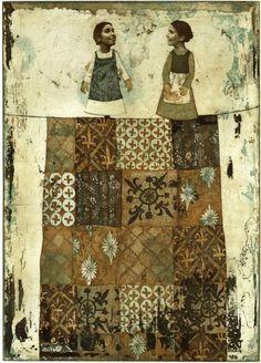 Piia Lehti: Nukketeatteri / Puppet Show, 2007 Finland Multimedia Arts, Collage Artists, Collages, Selling Art Online, Gravure, Textiles, Fabric Art, Mixed Media Art, Textile Art