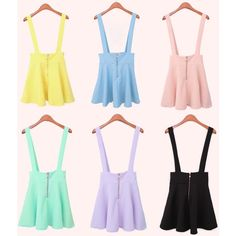 Pastel Goth Suspender Skirt (Kawaii Gunge Anime) ($24) ❤ liked on Polyvore