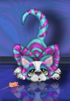 """Art: """"Upon Reflection"""" by artist Alma Lee ~ more Awesome, Fun, Vibrant, Whimsy Cat Art by one of the Best! Adore how she uses Colour so her Art just Pops! via 'cbqsart.com' ✽❤❦❤✽"""