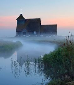 Fairfield church in dawn mist, Romney Marsh, near Rye, Kent, England by Stuart Black