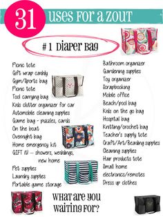 31 uses for the Zip Top Organizing Utility Tote www.snagmybags.com