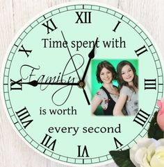 Time Spent With Family Clock. Photo Wall Clocks, Photo Clock, Family Clock, Personalized Clocks, Wow Factor, Photo Quality, Wow Products, Colorful Backgrounds, Your Design