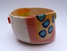 Bowl with multi surface detail on white slip ground © Linda Styles 2014