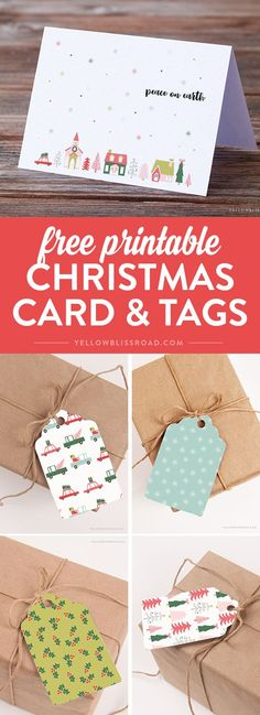 Free Printable Gift Tags! This set has pastels like lighter reds and more muted greens, aquas and even pinks and blues in fun, easy to use tags that you can print at home. Plus a coordinating free greeting card.