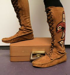 MADE TO ORDER Haida Totem laceup moccasins by ravenmountain, $360.00
