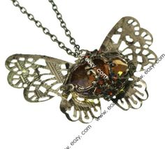 70 cm Sweater Chain Necklace Jewelry Butterfly Shape Coppery