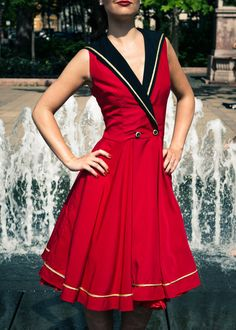 Red Sailorstyle dress by TicciRockabilly on Etsy, $95.00