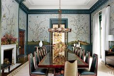 """Steven Gambrel """"Peacock blue has a luminous depth about it that nature does so well—the feathers of a peacock seem to shimmer and glow. I find peacock lacquer or high-gloss paint the most seductive way to create a striking, enveloping space that coddles and inspires."""" A Gracie wallpaper enlivens the dining room of a Long Island, New York, house decorated by Steven Gambrel.  Photo: Oberto Gili"""
