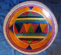 "Handcrafted Clay Pottery Large Bowl/Platter Botswana Bright Colors 12.5"" X 2.5"""