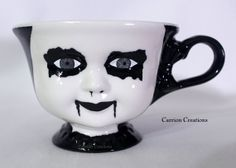 Creepy Grey Eyed Corpse Paint Doll Face Ceramic by CarrionComfort, $26.00