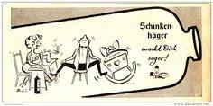 Werbung - Original-Werbung/ Anzeige 1958 - SCHINKENHÄGER MACHT DICH REGER (CARTOON) - ca. 180 x 80 mm