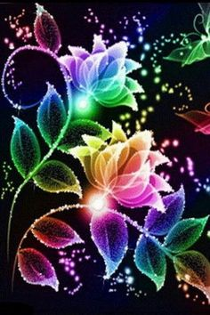 Beautiful Colors Of The Rainbow! Neon Flowers, Rainbow Flowers, Rainbow Colors, Flowers Gif, Bright Colors, Glitter Flowers, Flowers Background, Neon Rainbow, Colorful Roses