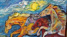 Abstract horse painting colorful horse art running horses