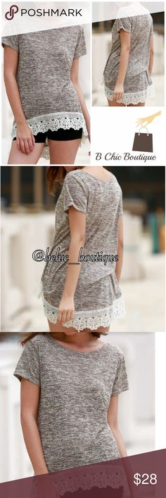 """Crochet Latte short sleeve tunic Latte color tunic top finished with crochet detail hem. Round neck. Short sleeves. Made of cotton/poly blend. Hi/low hemline.   Small Bust 40""""/ front length 24.5""""/ back length 27.5""""  Medium  Bust 42""""/ front length 24.80""""/ back length 28""""  Large Bust 43.30""""/ front length 25.20""""/ back length 28.30"""" Bchic Tops"""