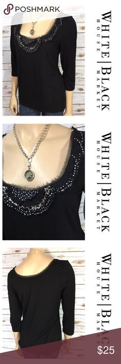 """White House Black Market Top 3/4 Slv Embellished Tag size - M Bust Measured Across - 18.5"""" Length from shoulder to Hem - 26"""" The edges of the neckline are frayed. Always open to reasonable offers! White House Black Market Tops Blouses"""
