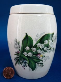 Tea Caddy Canister Vintage English Lily Of The Valley