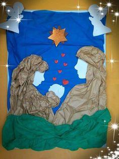 Úgy gondoljuk, tetszenének neked ezek a pinek - Christmas Bulletin Boards, Christmas Classroom Door, Office Christmas Decorations, Christmas Crafts For Kids, Simple Christmas, Christmas Diy, Nativity Crafts, Christmas Nativity, Diy Quilling Crafts