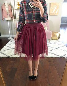 Burgundy tulle skirt, plaid shirt, bow pumps