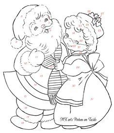 natal+5+-+risco+pintura+em+tecido+2.jpg (1364×1600) (santa Claus and Mrs Claus, Kris Kringle)