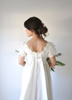 And this Austen-inspired wedding dress: 23 Items Perfect For A Jane Austen-Inspired Wedding Regency Wedding Dress, 1960s Wedding Dresses, Regency Dress, Wedding Dresses With Straps, Wedding Dresses Plus Size, Wedding Dress Shopping, Vintage Dresses, Wedding Gowns, Regency Era