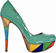 Multi Colored heel platform pumps