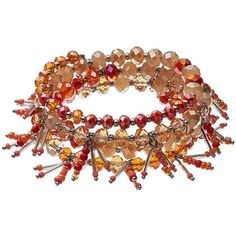 Simply Vera Vera Wang Orange Seed Bead Fringe Coil Bracelet ($21) ❤ liked on Polyvore featuring jewelry, bracelets, red other, red jewelry, fringe jewelry, red bangles, bead jewellery and beading jewelry