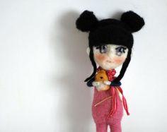 Bambola feltro ad ago di nearteneparte, kawaii art doll, asian style, Alice