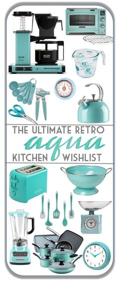 The Ultimate Retro Aqua Kitchen Wishlist - gorgeous aqua turquoise must haves for that mid century kitchen! Kitchenaid Aqua Sky, aqua kitchen, vintage kitchen, retro kitchen, turquoise kitchen, teal kitchen, mid century kitchen, mcm kitchen, robin egg blue kitchen